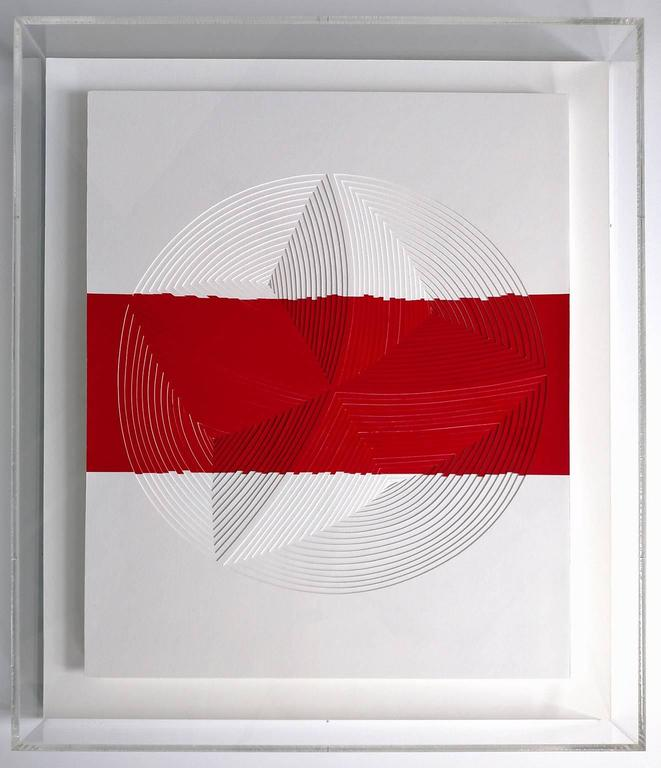 Red & White Strip-Out - Mixed Media Art by Elizabeth Gregory-Gruen