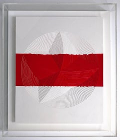 Freehand Cut with Surgical Scalpel on 2 ply Museum Board: Red & White Strip-Out'