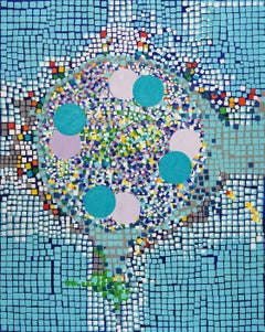 Large Abstract Pop Art Oil Painting: 'WHEEL'