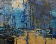 Fire Pond 2, Abstract Expressionist Oil Painting