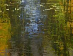 Pickerel Weed, Abstract Expressionist Oil Painting on wood panel