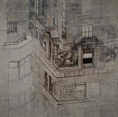 Mercantile Building Detail, ink and silver on linen