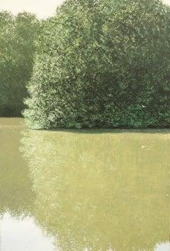 Mouette et étang en été , oil paint on canvas
