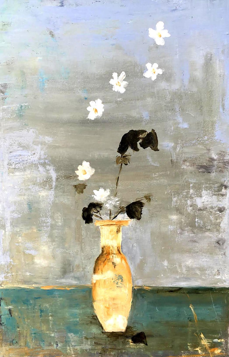 Diana Nicosia White Flowers Encaustic Paint Painting For Sale At
