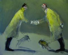 Bonjour! Cher monsieur, Contemporary Style Oil Painting