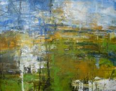 Meadow, Abstract Expressionist Oil Painting on wood panel