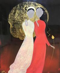 """Sisters"" Dinh Quan Laquer on Wood Gold Leaf Women Figurative Red Gold Black"