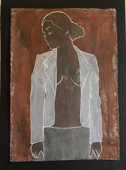 """Reine on Clay"" Casper Faassen Mixed Media Cardboard Clay Oil Paint  Oil Crayon"
