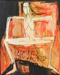 """Security Checked"" Dinh Y Nhi Oil on Canvas Figurative Female Nude Red Pink"