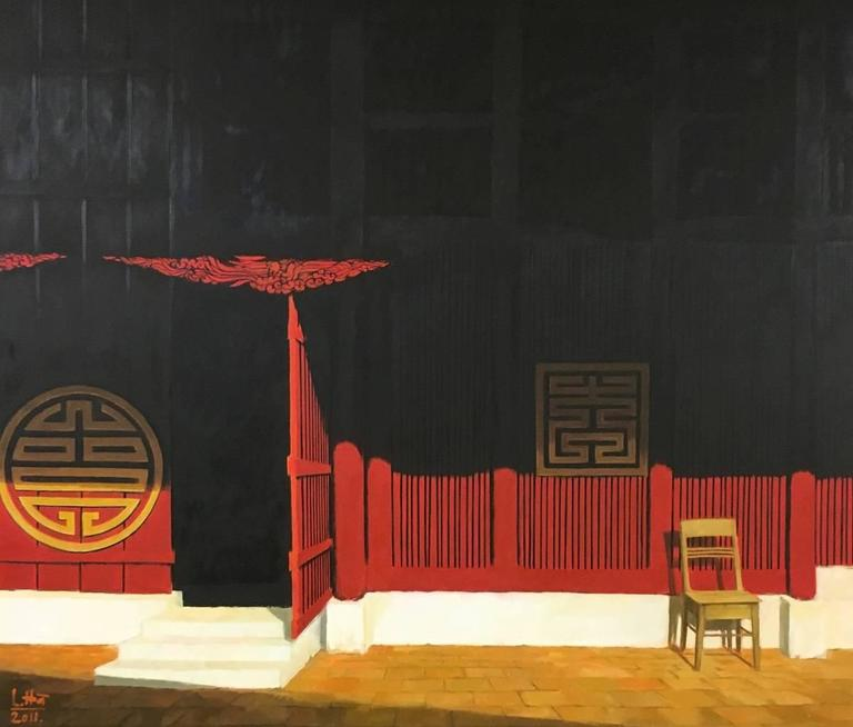 """Enter Pagoda"" Le Nhu Ha Oil on Canvas Exterior Portrait Black Red Gold Black Wh"