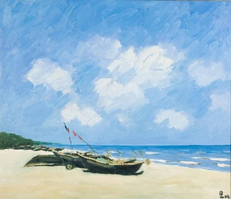 Sav Jon Beach, Pham Luan Large Impressionist Oil on Canvas Seascape Painting - Blue Landscape Painting by Pham Luan