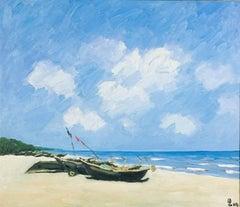 Sav Jon Beach, Pham Luan Large Impressionist Oil on Canvas Seascape Painting