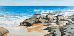 """""""Saui Son Beach"""" by Pham Luan Oil Painting Seascape Blue Grey Brown White Green"""