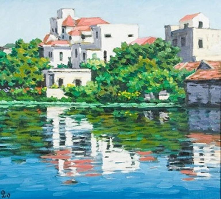 """""""Romantic Lake"""" by Pham Luan Oil on Canvas Painting Pink Blue Green Waterscape"""