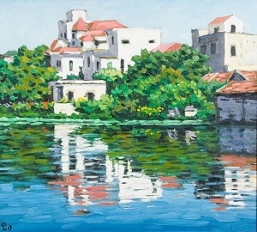 """""""Romantic Lake"""" Impressionist Painting Featuring Pink Blue Green Waterscape"""