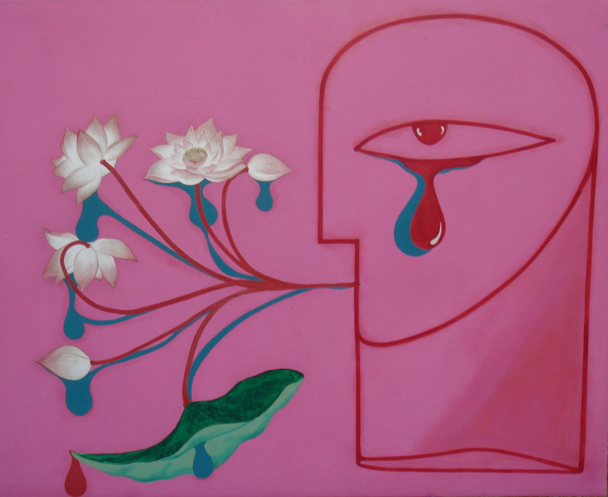 Truong Tan Vietnamese Lotus By Truong Tan Lacquer On Wood Pink