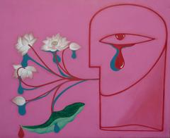 """Vietnamese Lotus"" by Truong Tan Lacquer on Wood  Pink Red Green Blue White"
