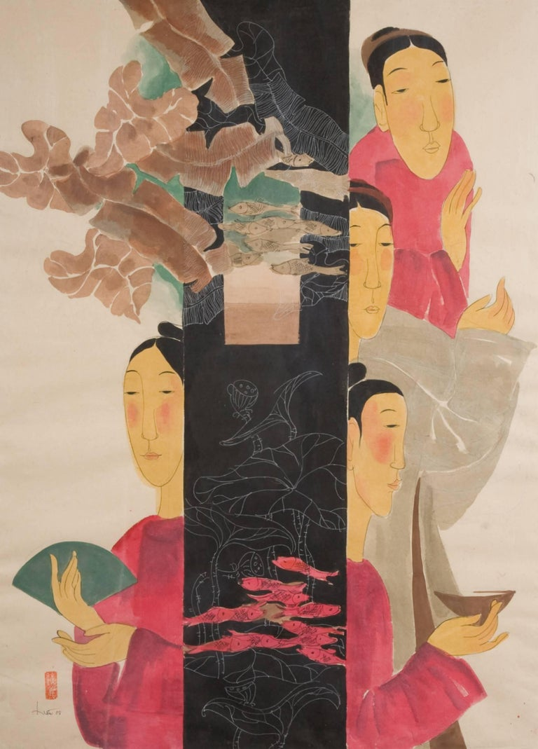 'Blessings' is a large framed watercolor on rice paper figurative piece created by Vietnamese artist Vu Thu Hien in 2008. Featuring an exquisite palette made of red, beige, gold and black tones, the painting depicts four women, dressed in ceremonial