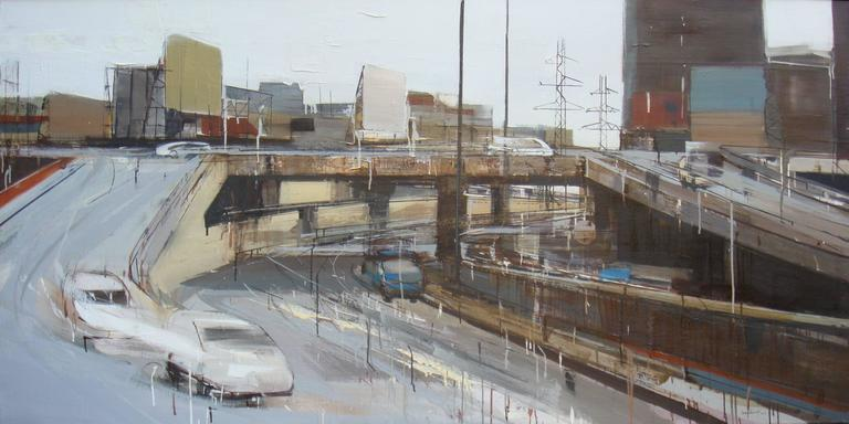 Chuong Duong Bridge by Le Quy Tong, Large Contemporary Cityscape Oil Painting