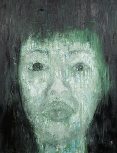 Portrait of My Wife by Ly Hung Anh Oil on Canvas Painting Green Blue Grey Black