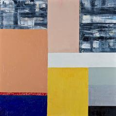"""Camelot"" Doug Frohman Oil Painting on Panel Abstract Blue Grey Beige Yellow Red"