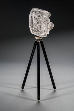 Tripod Camera, Sekonic Glass Sculpture With Antique Tripod