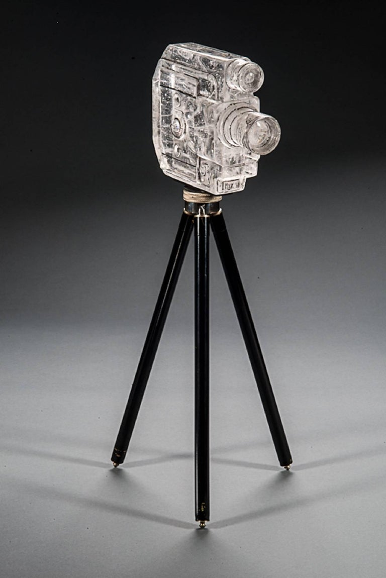 Josh Hershman Figurative Sculpture - Tripod Camera, Sekonic Glass Sculpture With Antique Tripod