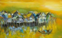 """Peaceful Yellow"", Dao Hai Phong Waterscape, Oil on Canvas, Yellow Blue Green"