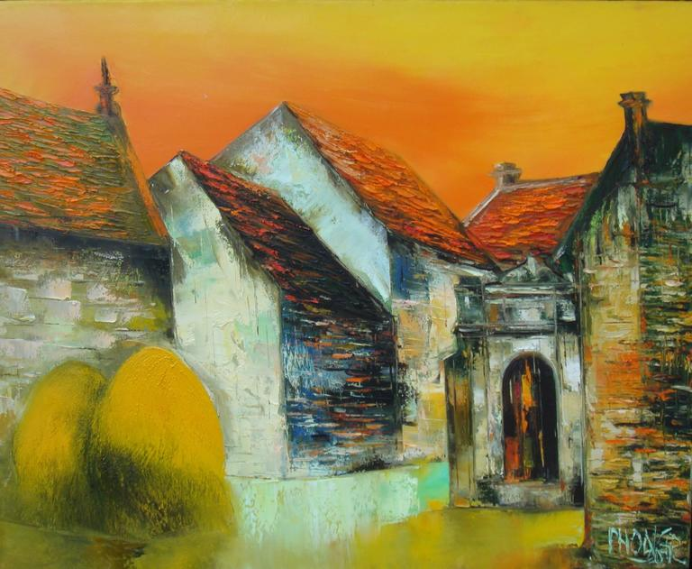Moon Gate, Dao Hai Phong Architectural Landscape Oil on Canvas Painting - Brown Landscape Painting by Dao Hai Phong