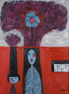 """Mother and Daughter"" Dang Thao Ngoc Oil on Canvas Painting Red Purple Black"