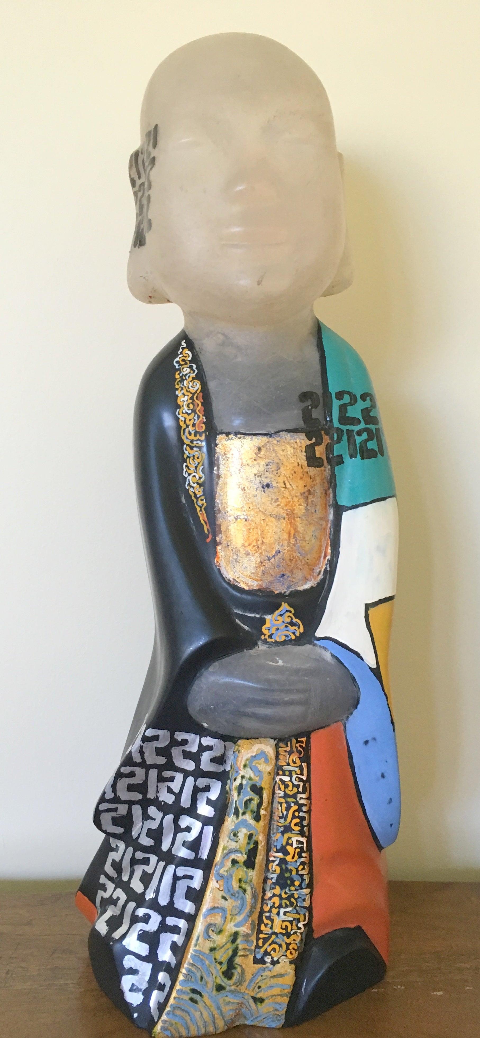 """Standing Buddha IV"" Dinh Cong Dat Sculpture Composite Oil Paint Gold Black Blue"