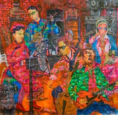 'Royal Rock', Ha Manh Thang Large Acrylic on Handmade Silk Paper Painting