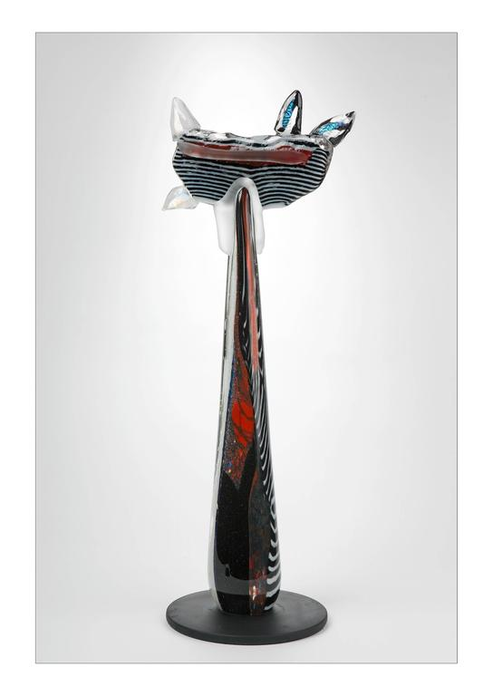 """Calico Cat"" Louis La Rooy Blown Glass Sculpture Blue Red Black White"