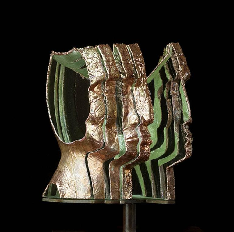 Loredano by Louis Sclafani Glass Cooper Steel Portrait Sculpture