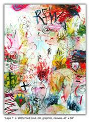 """""""Lapa 1"""" Ford Crull Oil Graphite Canvas Contemporary Figurative White Red Yellow"""