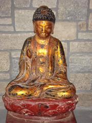 """Buddha Statue I""  Unknown Red Gold Black Wood Seated Buddha Statue"