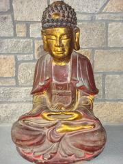 """""""Buddha Statue II"""" Unknown Red Gold Painted Wood Seated Buddha Statue"""