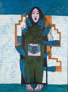 """""""Prebaby Diary"""" Dang Thao Ngoc Vietnames Oil on Canvas Painting Blue Green Gold"""