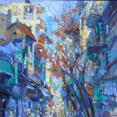"""Ha Ba Trung Street"" Duong Viet Nam Oil Acrylic Painting  Blue Rust  Yellow"