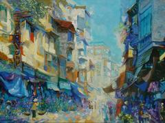 """Hang Bong Street"" Duong Viet Name Oil Acrylic Painting Street Scene Blue Cream"