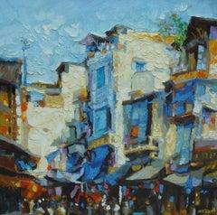 """Hang Da Street 1"" Duong Viet Nam Oil Acrylic Painting Blue Cream Yellow Red"