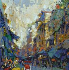 """Hang Da Street 2"" Duong Viet Nam Street Scene Blue Red yellow Cream Green"