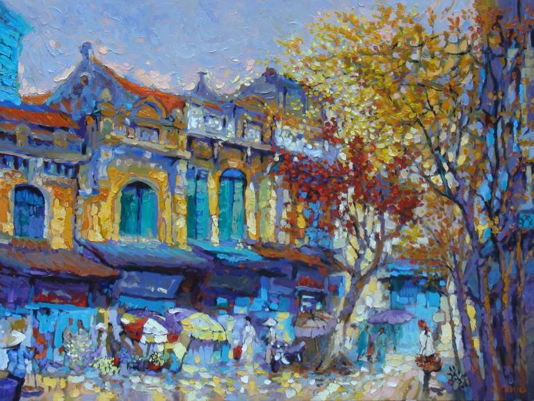 """""""Spring"""" Duong Viet Nam Oil Acrylic Painting Street Scene Blue Yellow Rust Gold"""