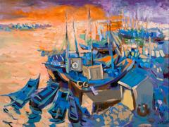 Mountains in the Sea by Duong Viet Nam, Large Harbor Scene with Boats Painting
