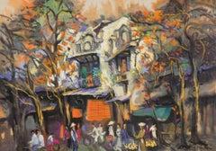 """Street Socialization"" Duong Viet Nam Oil Acrylic Painting Orange Brown Yellow"