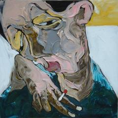 """Sleepy"" La Ba Quan Oil Painting Figurative Asian Blue Yellow Red Grey Brown"