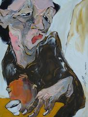 """Sensitive"" La Ba Quan Oil Painting Figurative Asian Orange Yellow Red Pink"
