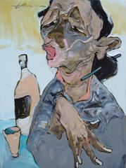 """Drinker"" La Ba Quan Oil Painting Figurative Asian Peach Red Pink Blue Grey"