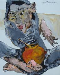 """Clay Pot"" La Ba Quan Oil Painting Figurative Asian Red Orange Blue Grey Yellow"