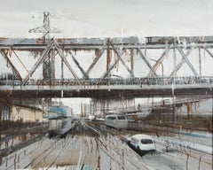 'Long Bien Bridge 6' Contemporary Painting of Urban Scene